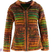 Colorful striped jacket in multi-tie-dye with hood